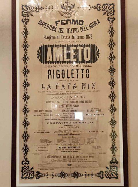 locandina storica del 1878 della riapertura del teatro dell'aquila di fermo